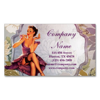 vintage retro pin up girl makeup artist magnetic business cards
