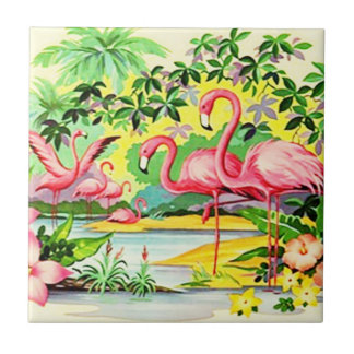 Vintage Retro Pink Flamingo Birds Flocking Tile