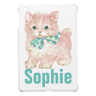 Vintage/Retro Pink Kitten Personnalised Case For The iPad Mini