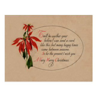 Vintage Retro Poinsettia Christmas Card Post Card