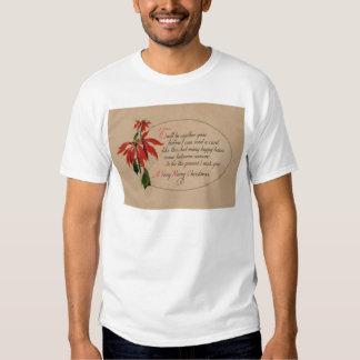 Vintage Retro Poinsettia Christmas Card Tees