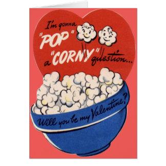 Vintage Retro Popcorn Valentine Greeting Card