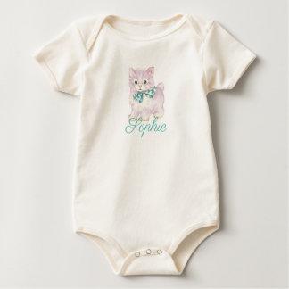 Vintage/Retro Purple Kitten Personnalised Baby Bodysuit