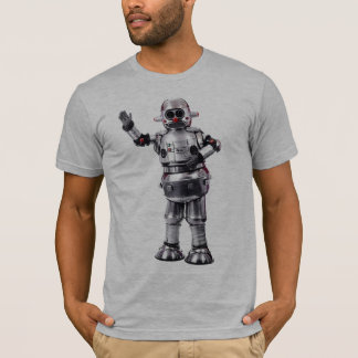 Vintage Retro Robot gray semi fitted mens tshirt