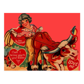 Vintage Retro Rodeo Valentine Card Postcard