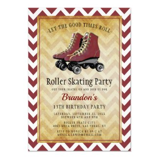 Vintage Retro Roller Skating Birthday Party Invitation
