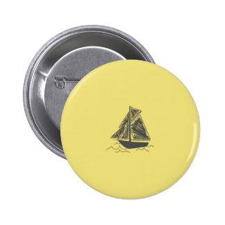Vintage Retro Sail Boat  Pattern Pinback Buttons