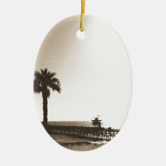 vintage retro san clemente pier california sepia ceramic oval decoration