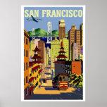 Vintage retro San Francisco travel Poster