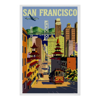 Vintage retro San Francisco travel Poster