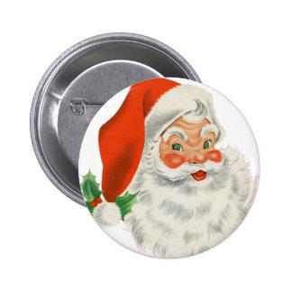 Vintage Retro Santa Claus 6 Cm Round Badge