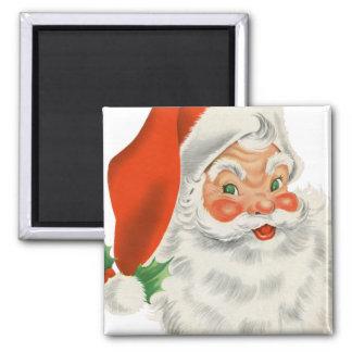 Vintage Retro Santa Claus Square Magnet