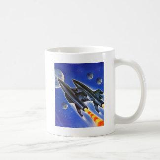 Vintage Retro Sci Fi Spaceship 'Three Earths' Basic White Mug