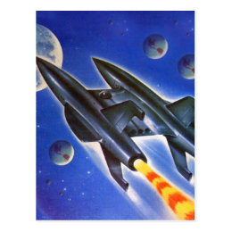 Vintage Retro Sci Fi Spaceship Three Earths Postcard