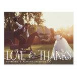 Vintage Retro Script Wedding Thank You Postcard