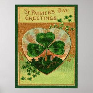 Vintage Retro Shamrock St Patrick's Greeting Card Posters