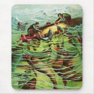 Vintage Retro Shark Attacks Saliors Mouse Mat