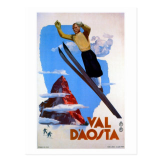 Vintage retro ski jumping Italian travel Postcard