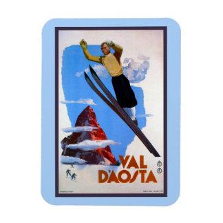 Vintage retro ski jumping Italian travel Rectangular Photo Magnet