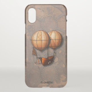 Vintage Retro Steampunk Air Balloon With Ship iPhone X Case