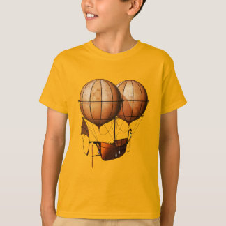 Vintage Retro Steampunk Air Balloon With Ship T-Shirt