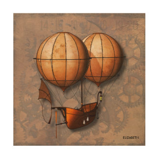 Vintage Retro Steampunk Air Balloon With Ship Wood Prints