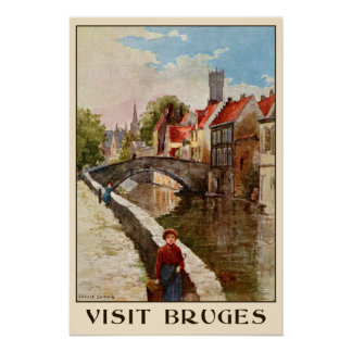 Vintage retro style Bruges travel ad Poster