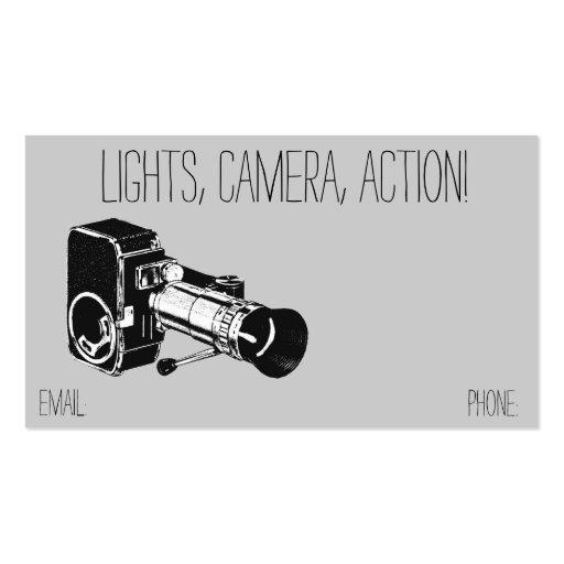 Vintage Retro Style Grey Movie Camera Film Business Card Template