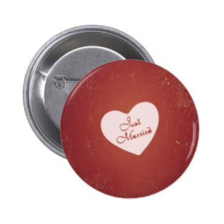 Vintage Retro Style Just Married On Antique Red 6 Cm Round Badge