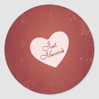 Vintage Retro Style Just Married On Antique Red Classic Round Sticker