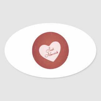 Vintage Retro Style Just Married On Antique Red Oval Sticker