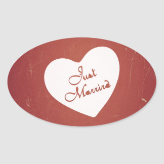 Vintage Retro Style Just Married On Antique Red Oval Stickers