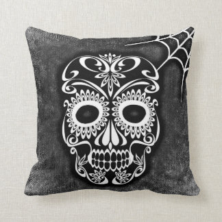 Vintage Retro Style Skull & Crossbones Cobweb Cushion