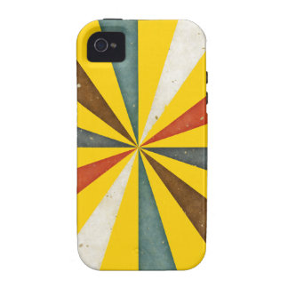 Vintage Retro Swirl On Canary Yellow Background Vibe iPhone 4 Cases