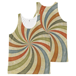 Vintage retro swirls All-Over print tank top
