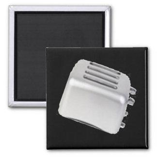 Vintage Retro Toaster Design - B&W Grey Square Magnet
