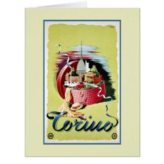 Vintage retro Turin Torino Italian travel ad Large Greeting Card