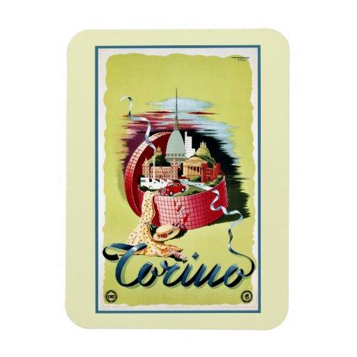 Vintage retro Turin Torino Italian travel ad Rectangular Magnet