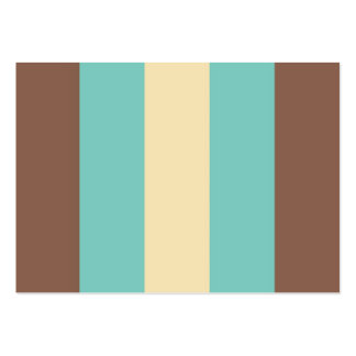 Vintage Retro Turquoise Blue, Brown, Cream Striped Business Cards