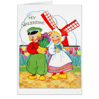 Vintage Retro Valentine Dutch Boy and Girl Card