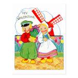 Vintage Retro Valentine Dutch Boy and Girl Post Card