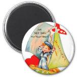 Vintage Retro Valentine I've Set Sail For You! 6 Cm Round Magnet