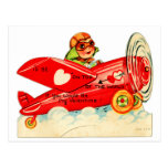 Vintage Retro Valentine Top Of The World Aeroplane Postcard
