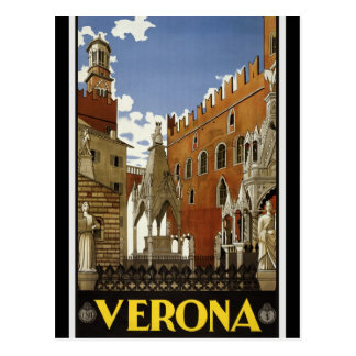 Vintage Retro Verona Italy Travel Tourism Postcard