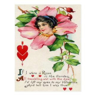 Vintage Retro Victorian Rose Valentine Card Postcard