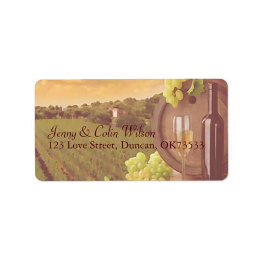 Vintage Retro Vineyard Sunset Wedding Address Label