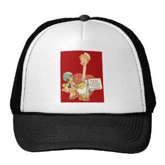 Vintage Retro Waiter With Box Of Hearts Valentine Trucker Hats