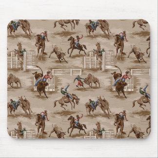 Vintage Retro Wallpaper Rodeo Cowboy Mousepad