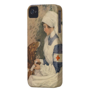 Vintage Retro War Nurse with Golden Retriever WW1 iPhone 4 Cover
