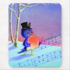 Vintage Retro Winter Singing Blue Bird Mouse Mat